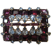 Juliana Faux Amethyst and Faux Blue Topaz Crystal Pin