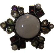 Sterling Silver Gemstone Ring With Milky Quartz Center and Accented with Garnet, Peridot, ...