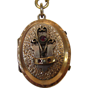 Vintage Victorian Locket and Chain with Faux Jeweled Front and Engraved Back