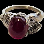 14 Karat White Gold Star Ruby and Diamond Ring