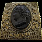 Vintage Czechoslovakia Black Cameo in Floral Brass Frame