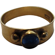 18 Karat Yellow Gold Ring With Sapphire Cabochon by Swedish Designer 1958