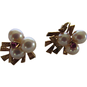 14 Karat Yellow Gold Clip Earrings With Cultured Pearls and Ruby Accents
