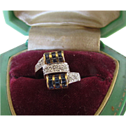 14 Karat Yellow Gold and Sapphire and Diamond Ring in a Deco Style