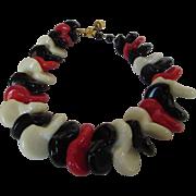 William De Lillo Massive Statement Necklace in Red, White and Black Art Glass Beads