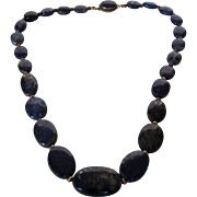 Vintage Lapis Lazuli Beads With Gold Filled Clasp