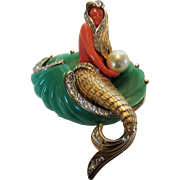Vintage Designer Mermaid on Shell Pin In Faux Jade, Faux Coral and Faux Pearl