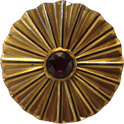 Joseff Goldtone Pin Pleated Round with Faux Garnet Center
