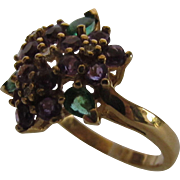 14 Karat Yellow Gold Ring Decorated in Amethyst, Emerald and Diamond