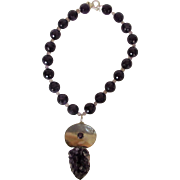 Sterling Silver Amethyst Necklace with Huge Amethyst Pendant and Mother of Pearl