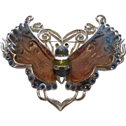 Vintage Silver Tone Butterfly With Poured Glass Wings and Aqua Crystal Accents
