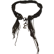 Christian Lacroix Vintage Bronze Tone Beaded Necklace With Logo Hangtag