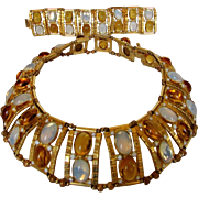 William De Lillo Runway Set Featuring Necklace With Faux Citrines and Moonstones and Matching