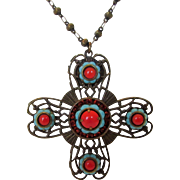 Vintage Designer Signed Maltese Cross Enhanced with Faux Coral and Faux Turquoise and Intricat