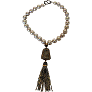 Freshwater Pearl with Sterling Clasp and Magnificent Pendant With Large Encrusted Druzy