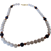 14 Karat Blue Lace Agate and Lapis Lazuli Beads Necklace