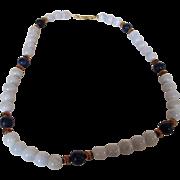 14 Karat Blue Lace Agate and Lapis Lazuli Beads Necklace
