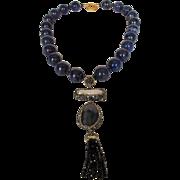 O.O.A.K. Lapis Lazuli Bead Necklace With Spectacular 5 Inch Drop
