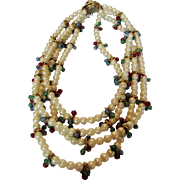 Vintage Moghul Style Four Strand Faux Pearl Necklace Enhanced with Jewel Toned Accents
