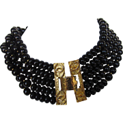 Chanel Choker/Necklace with Logo Clasp in Goldtone and Black Beads