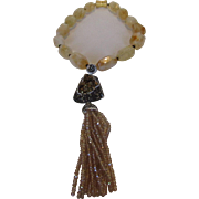 O.O.A.K. Citrine Bead Necklace With Magnetic Clasp and Druzy, Marcasite and Crystal ...