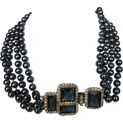 William De Lillo Necklace Enhanced with Faux Tahitian Pearls and Fabulous Jeweled Clasp