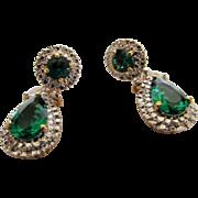 Vintage Camrose & Kross Jackie Kennedy Replica Convertible Green Crystal Pierced Earrings