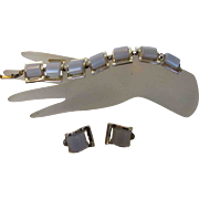 Vintage Mid Century Modern Thermoset Bracelet and Earring Set With Grey Blue Links
