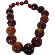 Vintage Bakelite Marbled 21 MM Bead Adjustable Necklace