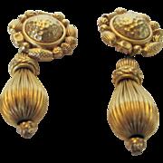 Vintage Oscar De La Renta Signed Brushed Textured Clip Earrings