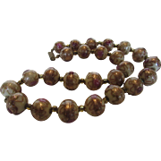 Vintage Venetian Wedding Cake Bead Necklace In Cream and Gold with Pink Frosting