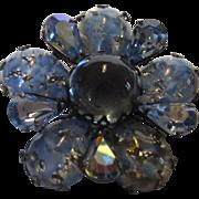 Vintage Regency Iridescent Smoky Blue Pin With Art Glass Petals and Aurora Borealis Stone ...