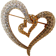 Swarovski Hearts Entwined Pin With Goldtone Base and Covered in Pave Crystals
