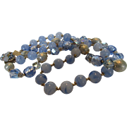 Vintage Mid Century Glass Beads Necklace With a Variety of Blue Tones