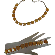 Vintage Vivid Orange Sherbert Thermoset Necklace and Matching Bracelet