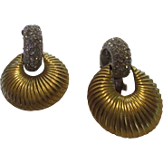 Vintage Kenneth Lane Door Knocker Clip Earrings in Goldtone and Pave Crystals on Silver Tone