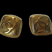 Chanel 1980's Logo Earrings In Textured Goldtone