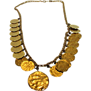 Vintage Kenneth Lane Necklace With 21 Goldtone Textured Discs; Lots of Movement