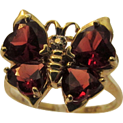 14 Karat Yellow Gold Garnet Butterfly Ring
