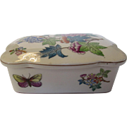 Herend Vintage Covered Box Victoria  Butterfly Flowers Design