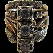 14 Karat Yellow Gold Custom Diamond Ring With 26 Diamonds