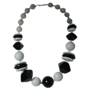 Haskell Black and White Bead Necklace