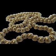 Vintage Crown Trifari Textured Goldtone Bead Necklace