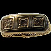 14 Karat Two Tone Gold Deco Band Enhanced With 3 Round Diamonds