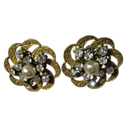 Haskell Simulated Pearl and Rhinestone Clip Earrings