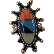 Sterling Silver Mexican Designer Gemstone Ring In Starburst Design Featuring Coral, Mother of