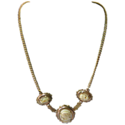 Vintage Art Deco Three Cameo Necklace on Brass Chain