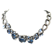 Vintage Ledo Necklace with Beautiful Unfoiled Blue Crystals set in Pewter tone metal