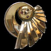 Vintage Deco Sterling Gold-wash Pin Signed Ernest Steiner Original