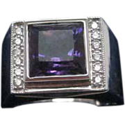 18 Karat Estate White Gold Unisex Amethyst and Diamond Ring